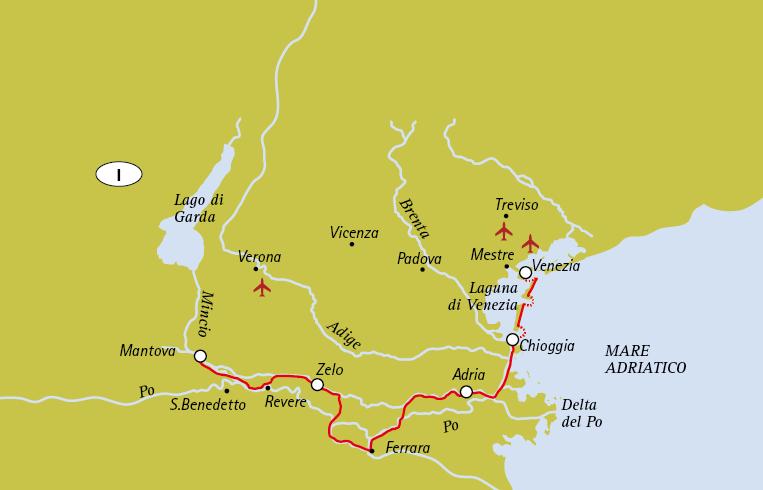 Mappa Da Mantova a Venezia